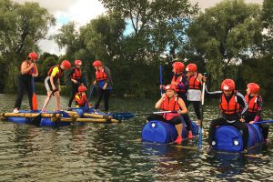 raft building at ellerton lake in north yorkshire with alfresco adventures
