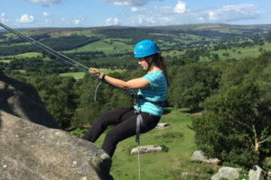 Abseiling at Brimham Rocks, near Harrogate