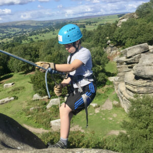 Abseiling and rock climbing experience Brimham Rocks