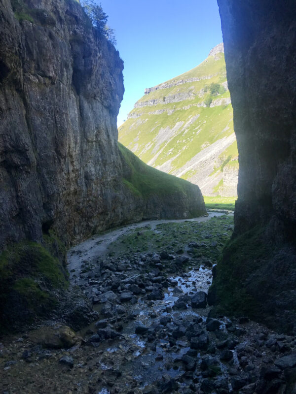 Guided walk climbing Gordale Scar in the Yorkshire Dales